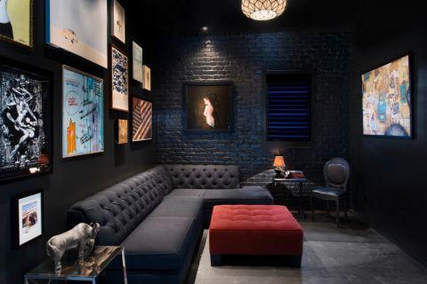 客厅黑色沙发现代风格装饰设计图片