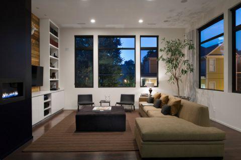 客厅白色吊顶现代风格装潢效果图