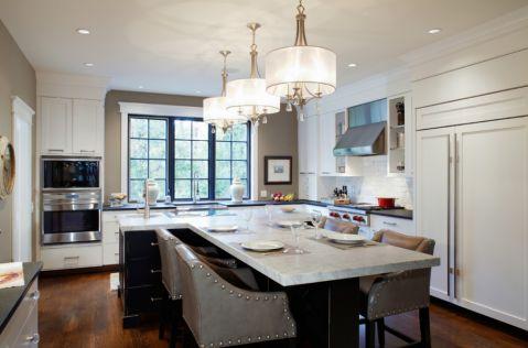 厨房黑色厨房岛台美式风格装饰设计图片