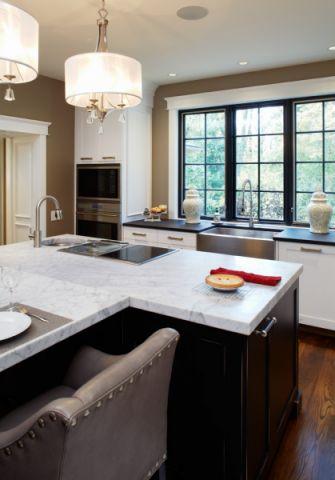 厨房黑色厨房岛台美式风格效果图