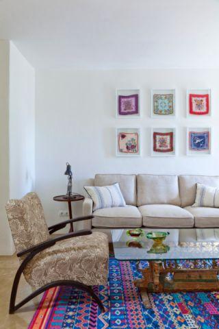 客厅白色沙发混搭风格装潢图片