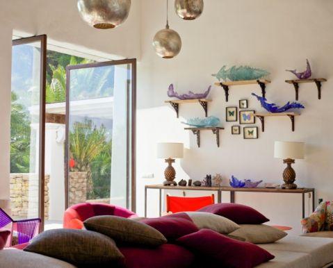 客厅白色飘窗混搭风格装饰设计图片