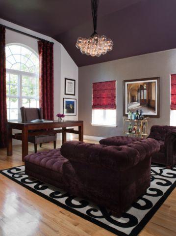 书房红色窗帘现代风格装潢效果图