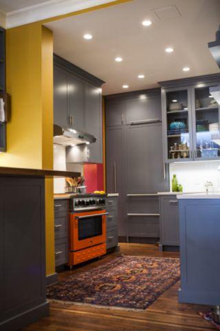 厨房灰色橱柜混搭风格装潢图片