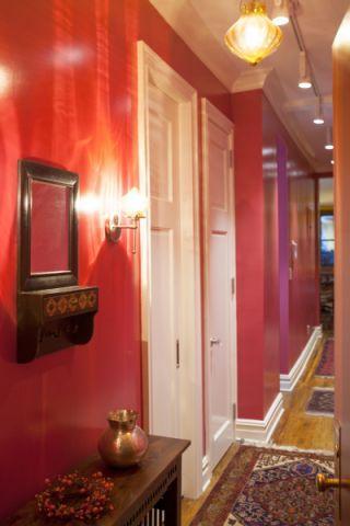 玄关红色走廊混搭风格装修效果图