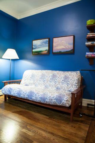 书房蓝色照片墙混搭风格装饰效果图