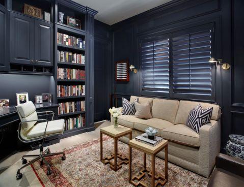书房咖啡色沙发地中海风格装潢图片