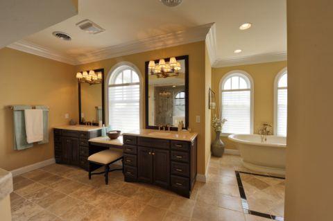 浴室米色洗漱台美式风格装饰图片