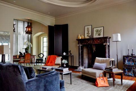 客厅咖啡色茶几混搭风格装饰设计图片