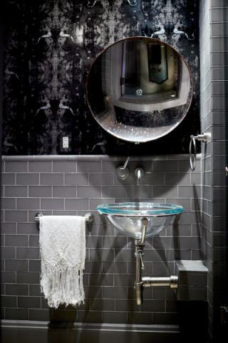 浴室灰色背景墙混搭风格装潢设计图片