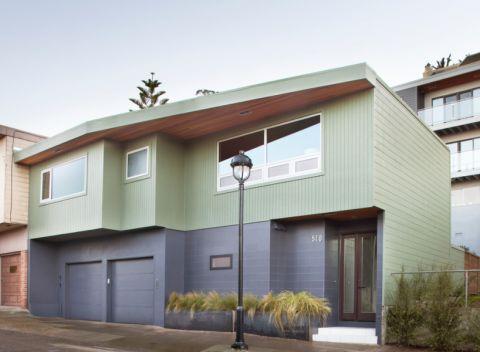 外景绿色外墙现代风格装饰图片