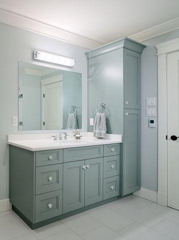 浴室绿色洗漱台现代风格装修图片