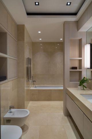 浴室黄色背景墙现代风格装修图片