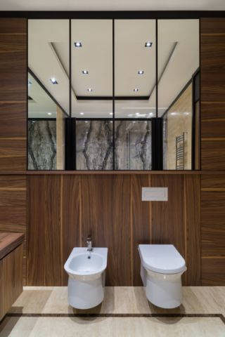 浴室咖啡色背景墙现代风格装饰图片