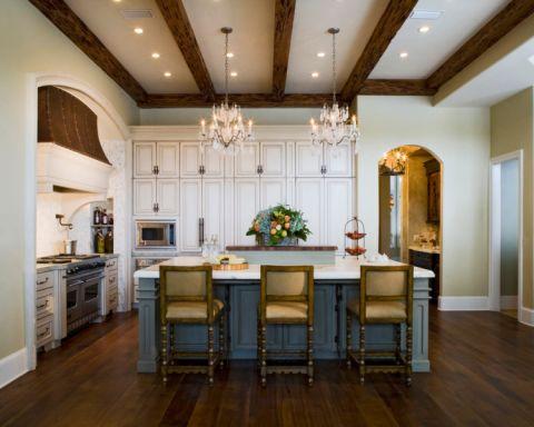厨房白色吧台美式风格装饰效果图