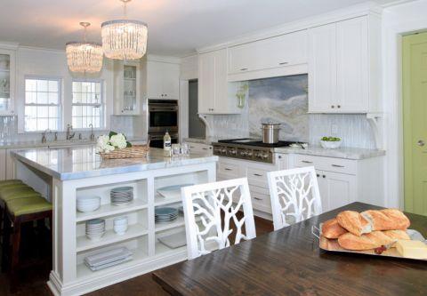 厨房白色吧台美式风格装潢图片