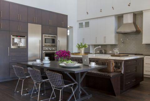 厨房白色吧台美式风格装修设计图片