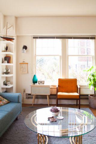 客厅灰色茶几混搭风格装潢设计图片