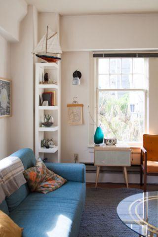 客厅白色窗台混搭风格装潢图片