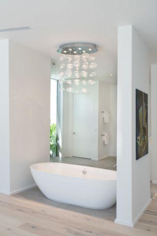 浴室咖啡色地板砖现代风格装修设计图片