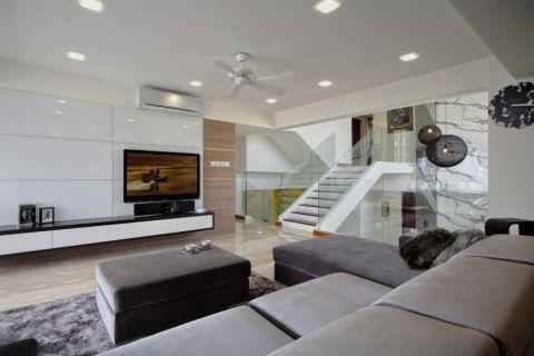 客厅白色楼梯现代风格装潢设计图片