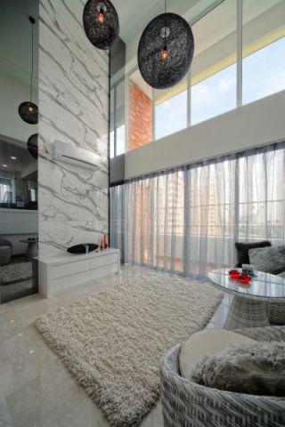 客厅白色地板砖现代风格效果图