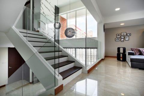 客厅白色楼梯现代风格装潢效果图