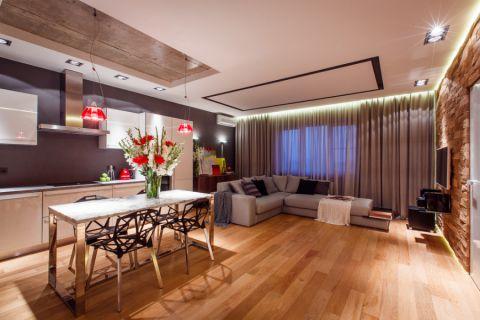 客厅米色窗帘现代风格装饰设计图片