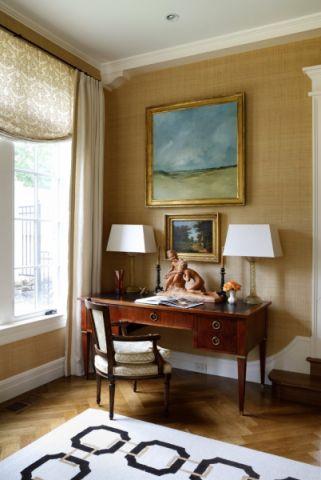 书房咖啡色书桌现代风格装饰效果图
