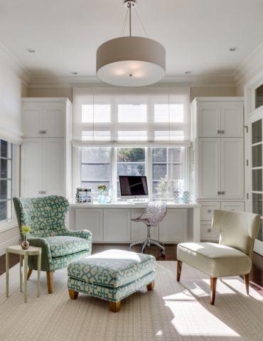 书房白色沙发美式风格装饰效果图