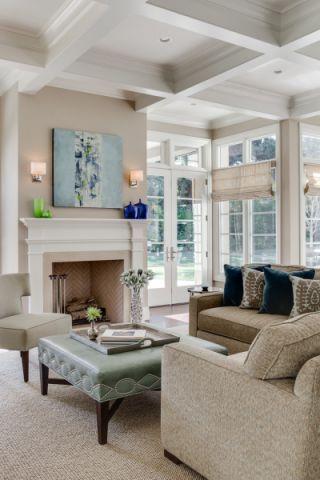 客厅白色背景墙美式风格装潢效果图