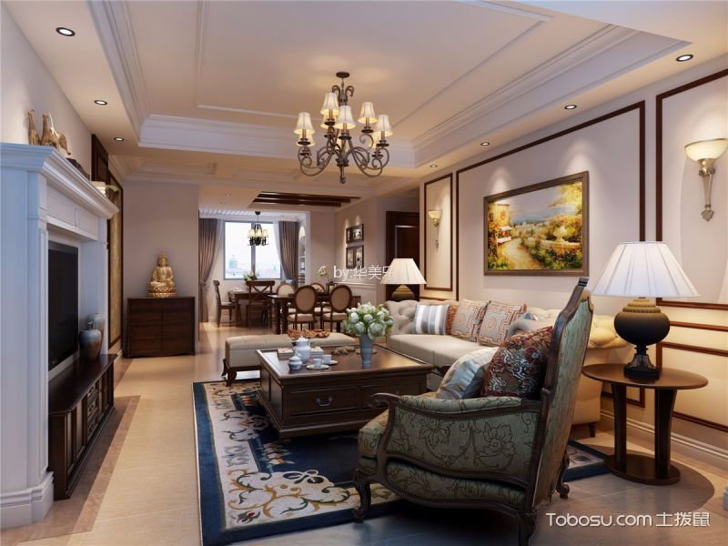 美式風格140平米套房新房裝修效果圖
