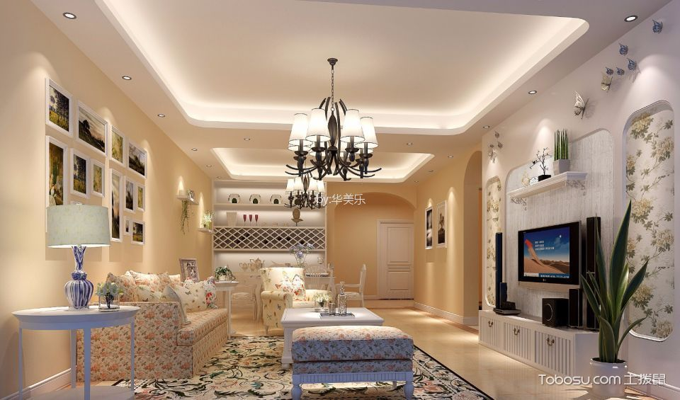 美式风格113平米四室两厅新房装修效果图