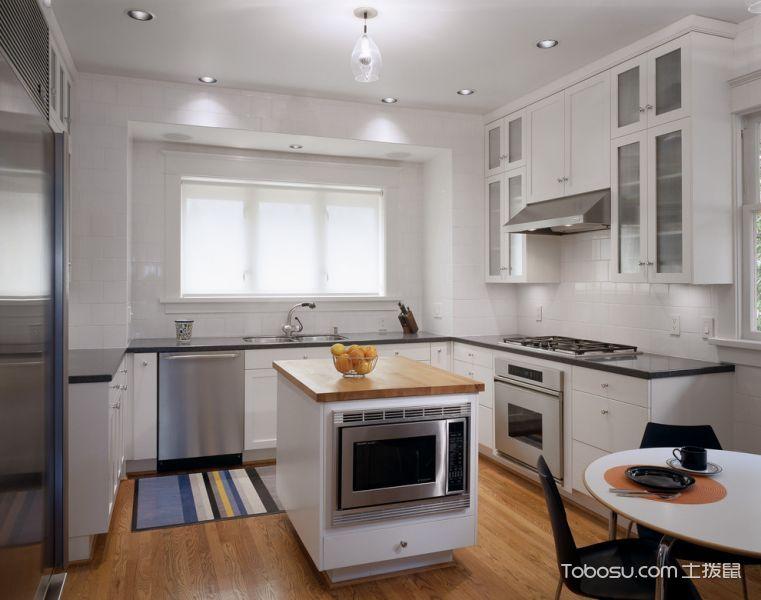厨房白色美式风格装修设计图片