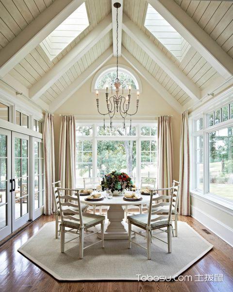 餐厅白色美式风格装潢设计图片