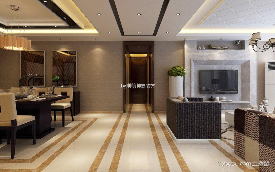 客厅米色地砖混搭风格装饰设计图片
