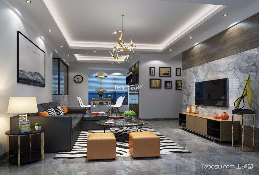 現代風格110平米三室兩廳新房裝修效果圖