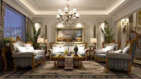 客厅咖啡色沙发欧式风格装饰设计图片