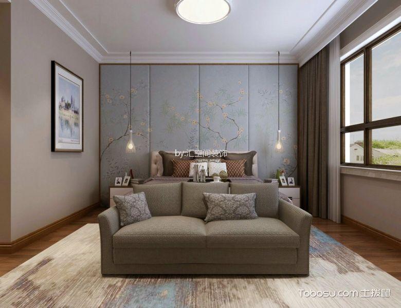 卧室灰色床美式风格装修图片