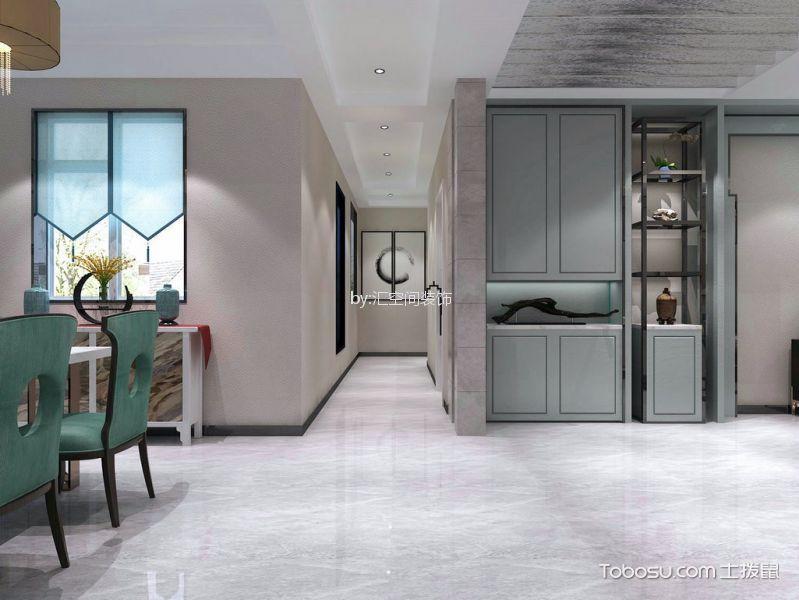 客厅灰色地板砖新中式风格装潢设计图片