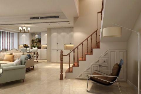 客厅楼梯简欧风格装修效果图
