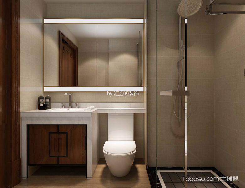 卫生间白色洗漱台新中式风格装饰效果图