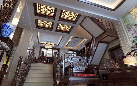 客厅楼梯中式风格效果图