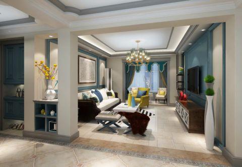 130平米三室两厅一卫简欧风格装修效果图