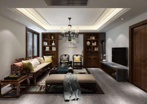 客厅书架新中式风格装潢图片