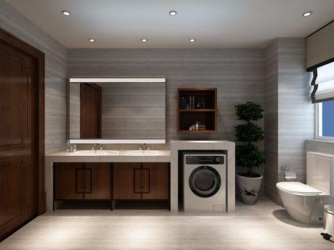 卫生间背景墙新中式风格装潢设计图片
