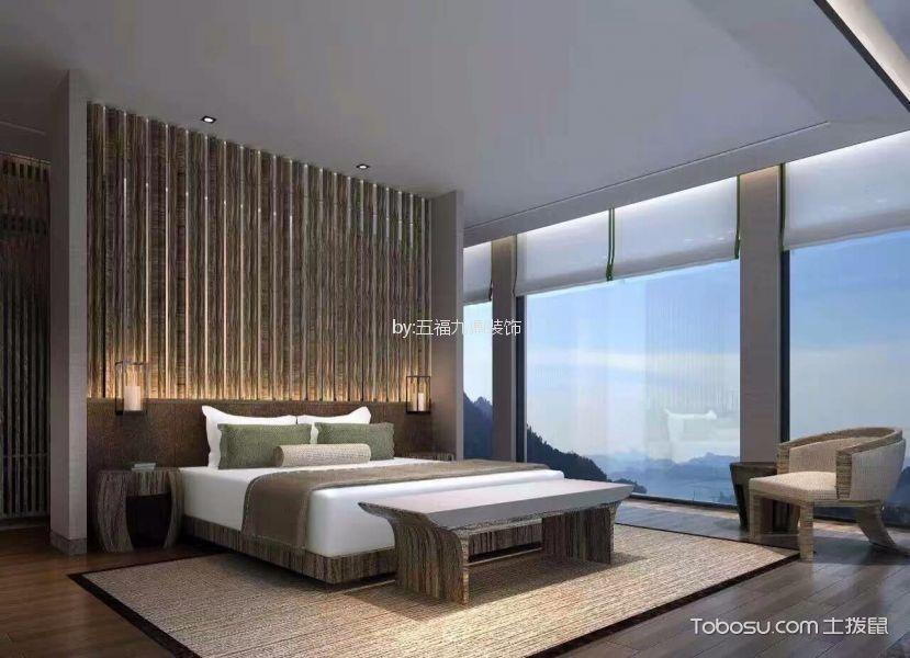 卧室咖啡色落地窗简欧风格装修设计图片