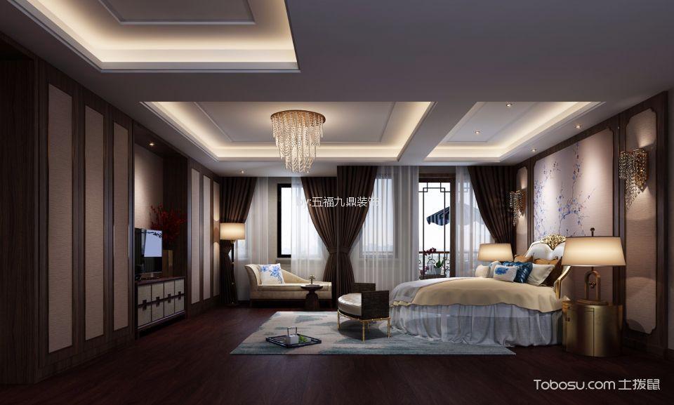 卧室咖啡色背景墙新中式风格装饰图片