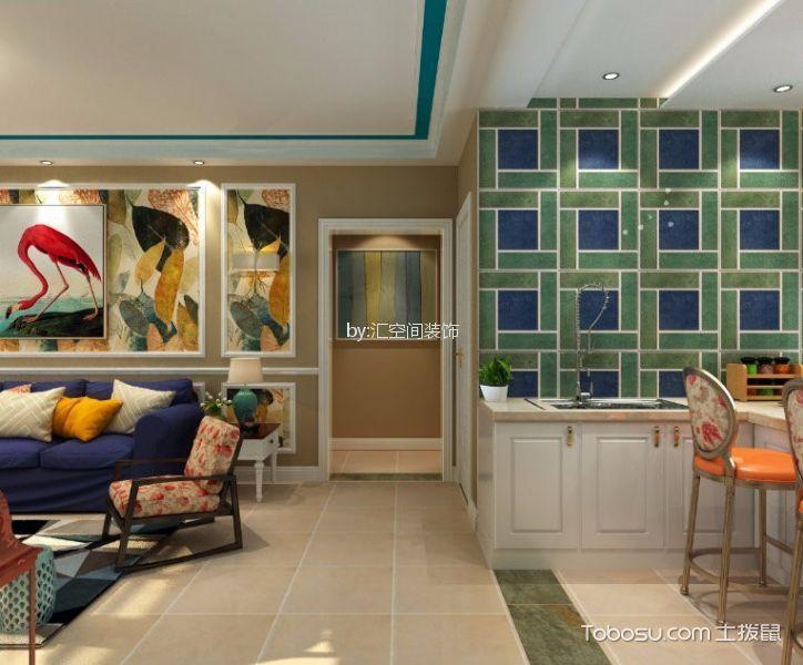 90平米两室两厅一卫美式风格装修效果图