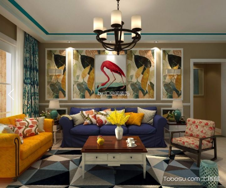 客厅_90平米两室两厅一卫美式风格装修效果图